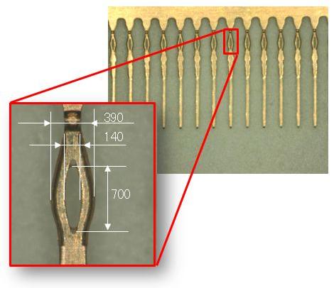 スルーホールφ0.3mmに挿入可能なプレスフィット端子